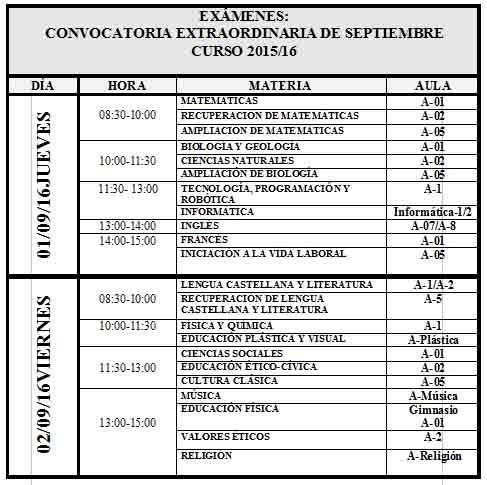 examenes septiembre campo real